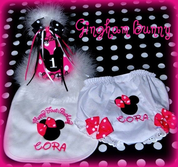 3 Piece Set,  Ultimate Minnie Hat, Appliqued Bib & Matching  Bloomers,  First Birthday Hat,  Choose colors,  by GINGHAM BUNNY