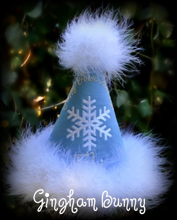 """SNOWFLAKE Winter """"ONE"""" DERLAND  First Birthday Hat, You Choose Colors,by Gingham Bunny"""