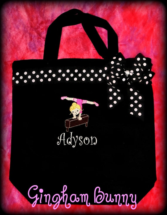 GYMNASTICS Personalized Custom Tote Bag,  Birthday Gift,  BALLET, Dance Class, Cheerleading, Bridesmaids,Princess,by Gingham Bunny
