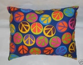 Peace Signs Dark Blue Flannel Toss Pillow/Travel Pillow