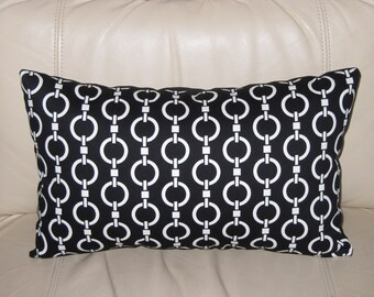 Decorative Pillow -Lumbar Pillow - For Your Home Chain Link Stripe Black/Ivory