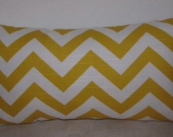"ZigZag Slub Texture Yellow/White Decorative Pillow Cover - Lumbar Pillow Cover 12""x18"""