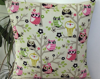 "Owls Sit'N Tree Meadow -  Decorative Pillow Cover- Pillowcase 18""x18"""