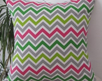 Zig Zag Chartreuse/Candy Pink Decorative Pillow Cover-Throw Pillowcase- Invisible Zipper
