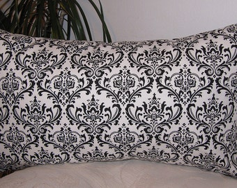Damask Black and White Decorative Pillow Cover - Lumbar Pillowcase