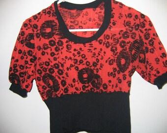 vintage 1970s blouse orange black