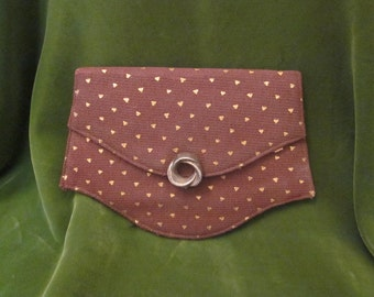 Tiny Vintage Clutch Brown and Gold