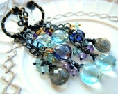 Isolde earrings with Topaz,Labradorite,Iolite,Amethyst and Apatite in St.Silver and Goldfill