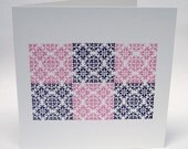 Letterpress Ornament card - Purple and Pink