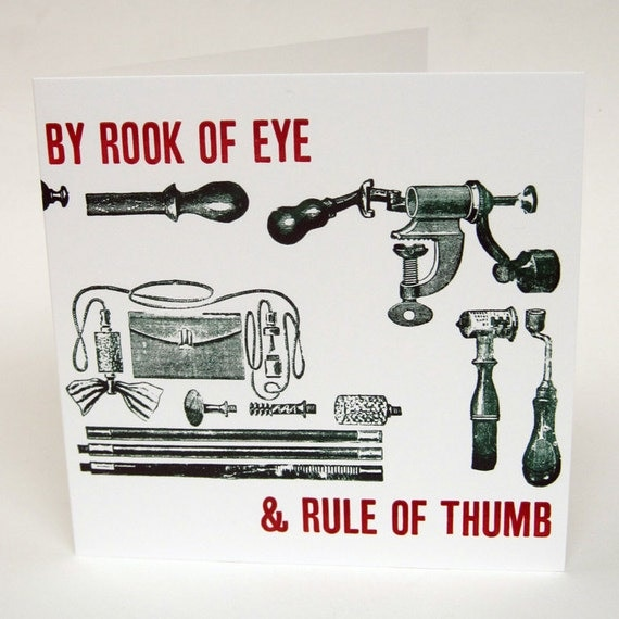 Letterpress Typeset Card - Rook of Eye & Rule of Thumb