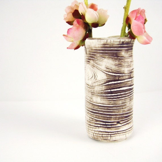 Small Bud Vase Faux Bois 4 Inch Tall Made to Order