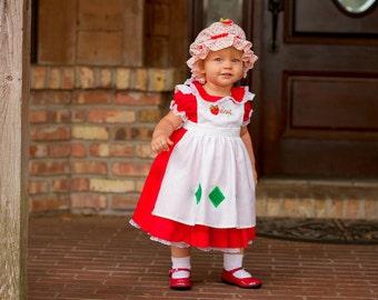 Custom Strawberry Shortcake Dress Costume in Baby or Toddler Sizes