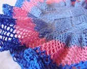 vintage CROCHET LACE DOILY pink and blue --ruffled--