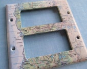 vintage map  PACFIC COAST dual decora style switchplate