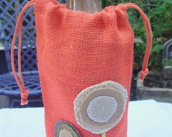 WINE BAG -- jute-burlap (olive green with caramel and  charcoal flowers)