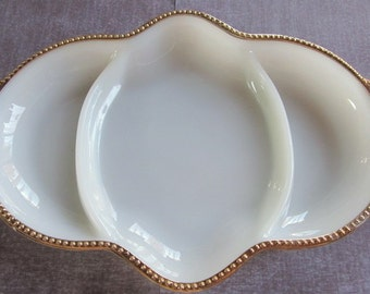 vintage FIRE KING milk glass divided tray