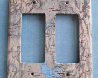 vintage map  GREAT SALT LAKE dual decora style switchplate