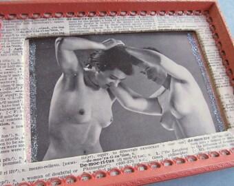 LOVELY LADIES black & white vintage nude print-- framed  (4x6 print)