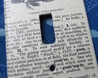 vintage dictionary GURNARD (fish)   light switch plate
