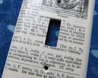 vintage dictionary ENCARPUS light switch plate
