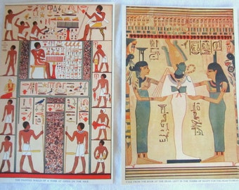 """EGYPT & ASSYRIA -antique prints-  Mummies, Tombs, Gizeh, Nineveh -- from """"Book of Knowledge"""" 1912"""