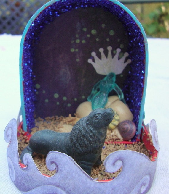 UNDER THE SEA mermaid mini altar, shrine, assemblage