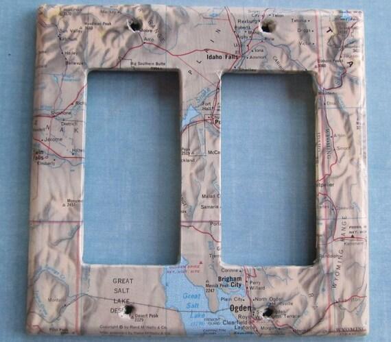 vintage map  GREAT SALT LAKE dual decora style switchplate