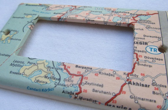 vintage map  GREECE, TURKEY decora style ight switch plate