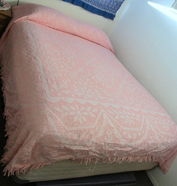 vintage CHENILLE BEDSPREAD cotton candy pink cotton chenille--   (queen size)