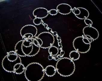 """Custom SILVER TWISTED RING, Necklace, 36"""" Long, Original Hand Made, Quality Brass Plated in Silver"""