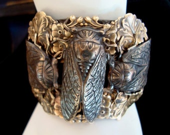 Cicada Bug Bracelet Cuff, Haute Couture CICADA BUG, Metalwork with NO seen metal joints, Quality Custom Jewelry