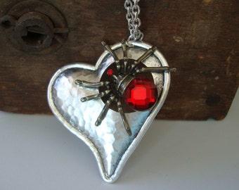 Gothic Blood Spider, LONG LOST LOVE Necklace, Blood Spider, Vintage Love, Sterling Silver Finish