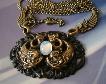 Pisces, SteamPunk, Sea Creatures with Highly Reflective Water Drop Jewel, Wing Bails Leading to Long Brass Ox Chain