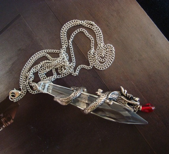 Jewelry, Necklace, Fantasy, Blood Drops and Dragons Handmade Necklace, Crystal, Blood Drop, Silver Link Chain, USA