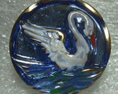 22mm Czech Glass  Button Blue with White Swan      5J  Beautiful