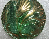 27mm Czech Glass Button Art Deco Nouveau Tulip  5A