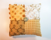 Chenille Pillow - Olive Avocado Green Gold Butterscotch -The Olive Juice - Vintage Chenille Handmade Charm Pillow