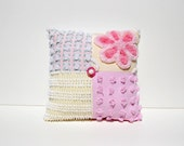 Chenille Charm Pillow - Ayanna - Pink & Yellow Flower Vintage Chenille Handmade Charm Pillow
