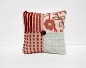 Chenille Charm Pillow - Saffron Sage - Vintage Chenille Handmade Charm Pillow