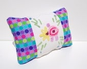 Chenille Pillow - Purple Pink Yellow Green Blue Vintage Chenille Handmade Bed Pillow
