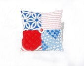 Chenille Charm Pillow - Stars n Stripes - Red White blue Americana Vintage Chenille Handmade Charm Pillow