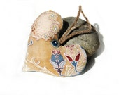 Art Nouveau Tan Blue Heart French Ticking Lavender Sachet