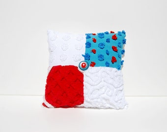 Chenille Pillow - Rexa - Blue Red White Vintage Chenille Handmade Charm Pillow