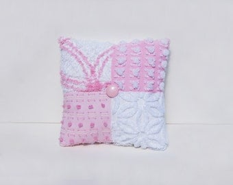 Chenille Charm Pillow - Princess Pink - Rare Vantona Rosebud Pink White Buttons Bows Vintage Chenille Handmade Charm Pillow