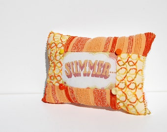 SALE ----Summer Pillow - Pop Art Yellow Orange Vintage Chenille Handmade Throw Chenille Pillow