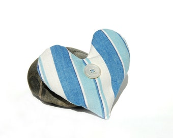 SALE -- I Love a Sailor - Heart Shaped French Ticking Lavender Sachet
