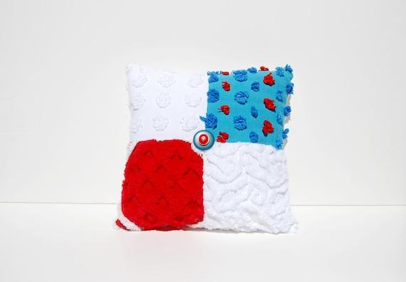 Chenille Pillow - Rexa - Blue Red White Vintage Chenille Handmade Charm Pillow