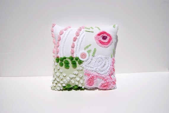 Chenille Charm Pillow - Pink Lolly - Pink Green White Vintage Chenille Handmade Charm Pillow