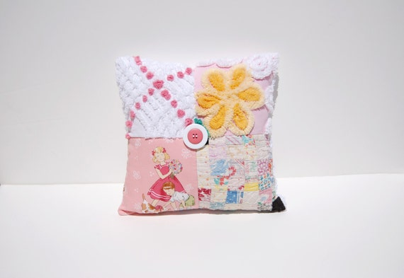 Chenille Pillow - Belle Bouquet - Pink Yellow 1940s Postage Stamp Quilted Vintage Chenille Handmade Charm Pillow