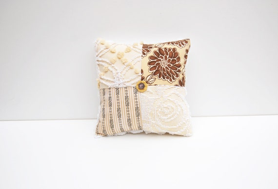 Chenille Pillow - Donna Daphne - Dahlia Yellow Brown Vintage Chenille Handmade Charm Pillow
